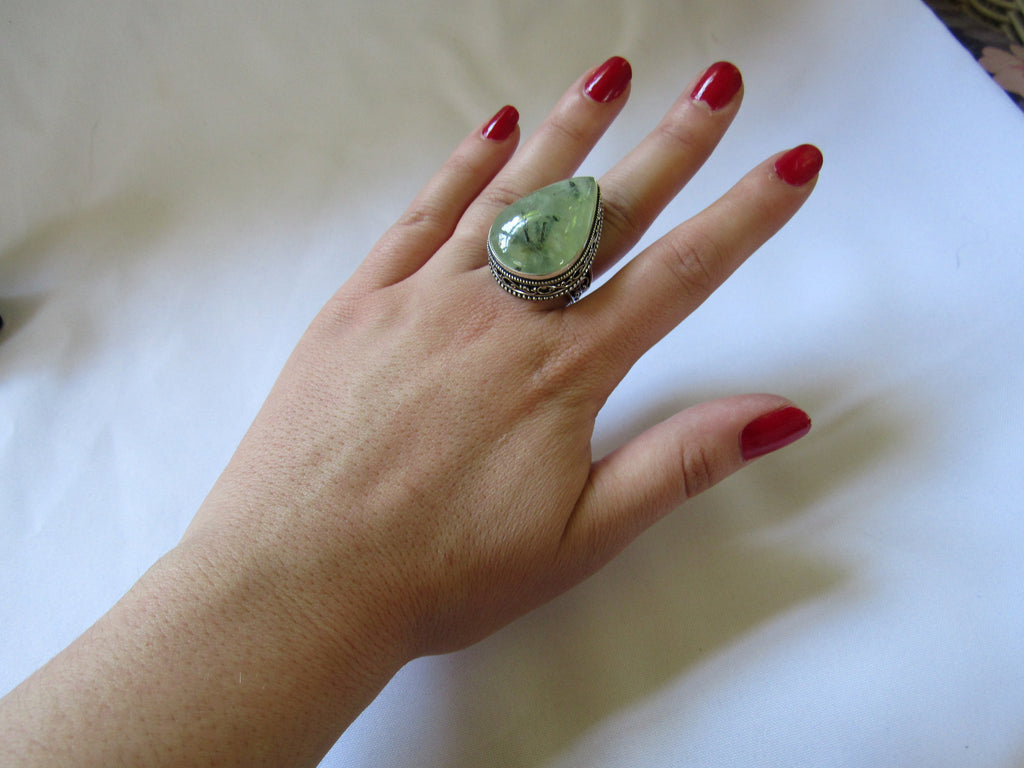 Silver Plated Large Stone Ring - Pear Green