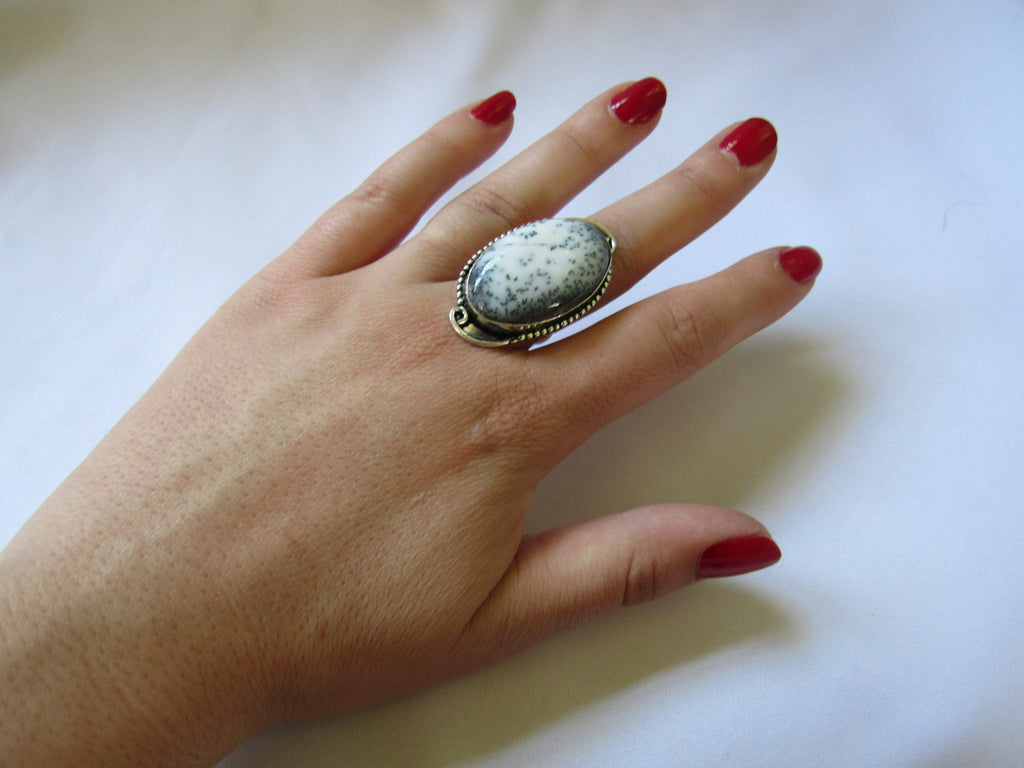 Silver Plated Large Stone Ring - Oval Grey White