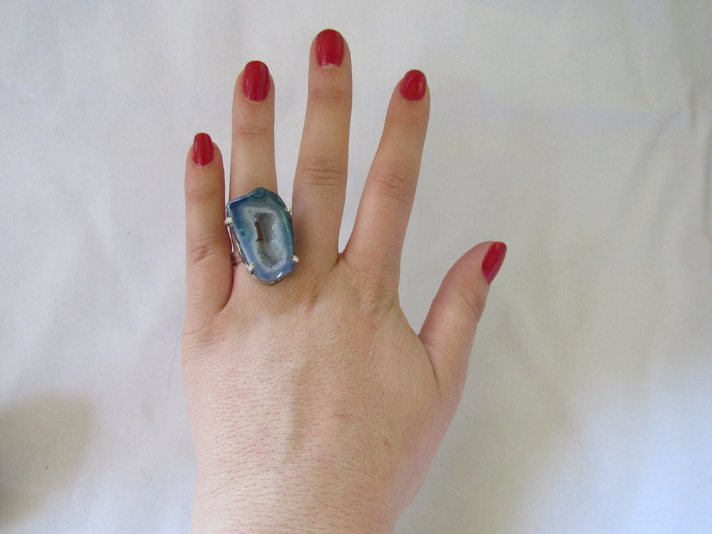 Silver Plated Large Stone Ring - Bright Blue