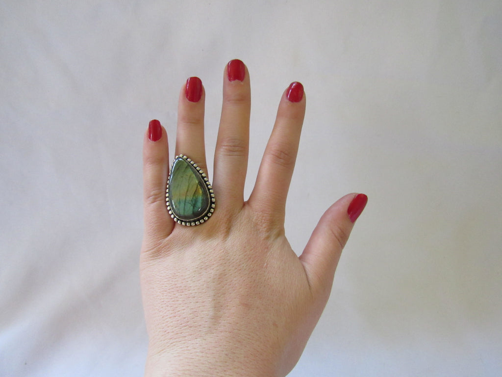 Silver Plated Large Stone Ring - Iridescent Blue