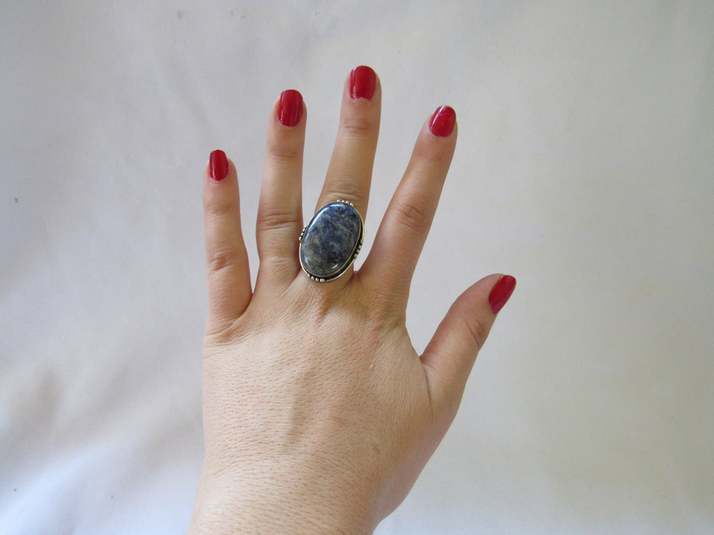 Silver Plated Large Stone Rings - Blue Oval