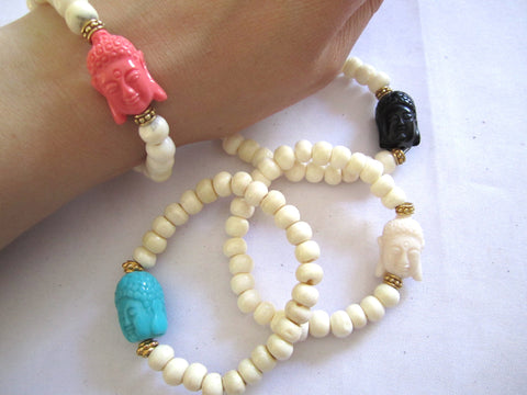 Nepal Bone Bead Buddha Stretch Bracelet