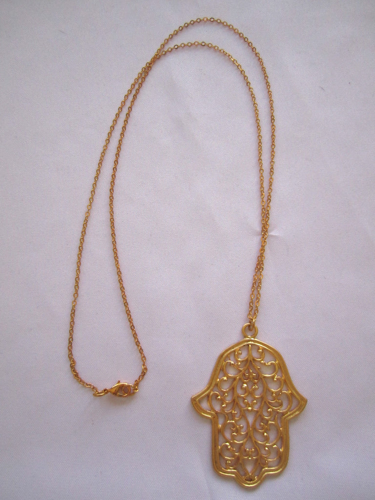 Turkish pendant necklace large hamsa 22kt gold over bronze turkish pendant necklace large hamsa 22kt gold over bronze handmade mozeypictures Image collections