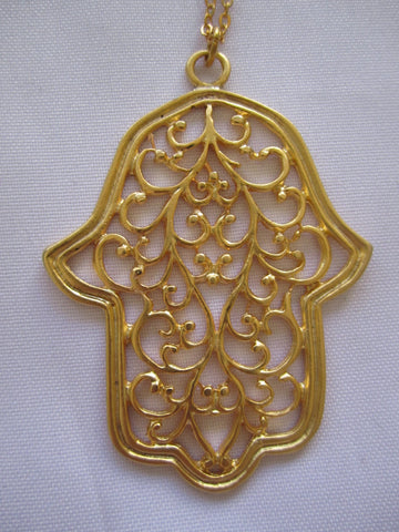 "Turkish Pendant Necklace ""Large Hamsa"" 22Kt Gold Over Bronze- Handmade"