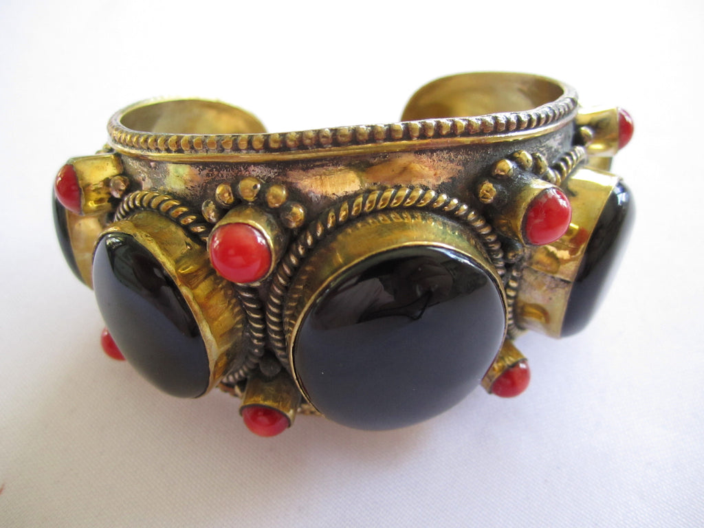 Tibetan Bracelet Cuff with 3 Black Onyx Stones + red Coral Accents
