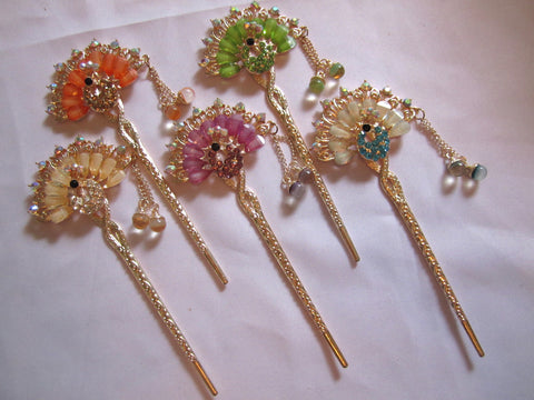 Hair Pins Decorative Hair Accessory Fanned Peacock