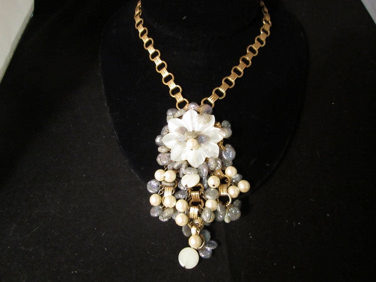 Vintage Necklace, Designer, Amazingly Beautiful Drippy Pearl + Iridescent Chip Beaded