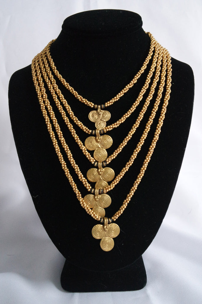 Naga India Necklace 5 Tier Waterfall Brass or Silver