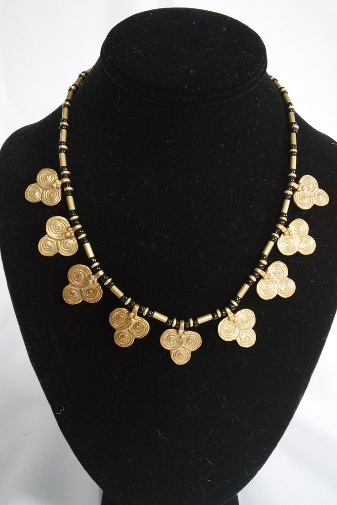 Naga India Necklace Single Clover Brass or Silver Bead w/ Black Glass Beads