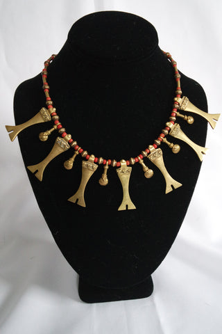 "Naga India Necklace, ""Tribal"" Brass or Silver Handmade Beads with Red Glass"