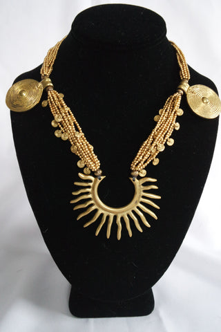 "Naga India Necklace, ""Tribal Starburst"" Brass Handmade Beads"