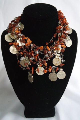 "Naga India Necklace ""Tribal Vintage Coin""  Stones - Many Different Stones!!"