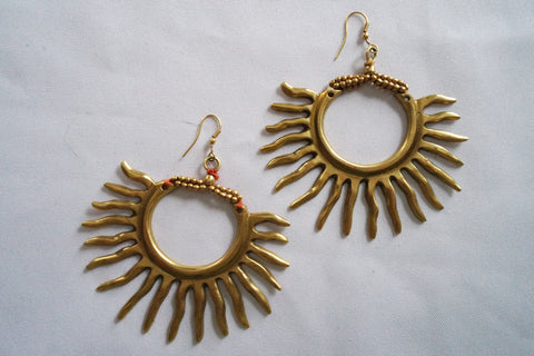 "Naga India Earrings "" Starburst"""