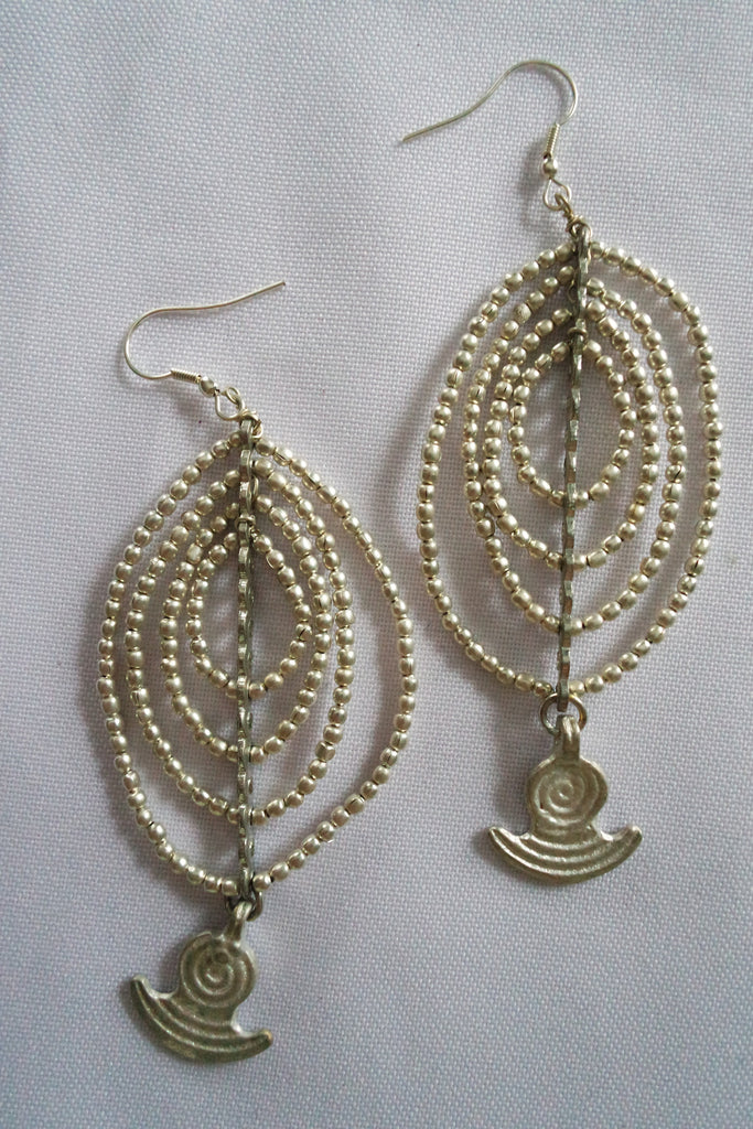 Naga Tribe Earrings, with Anchor Bead, Silver and Brass