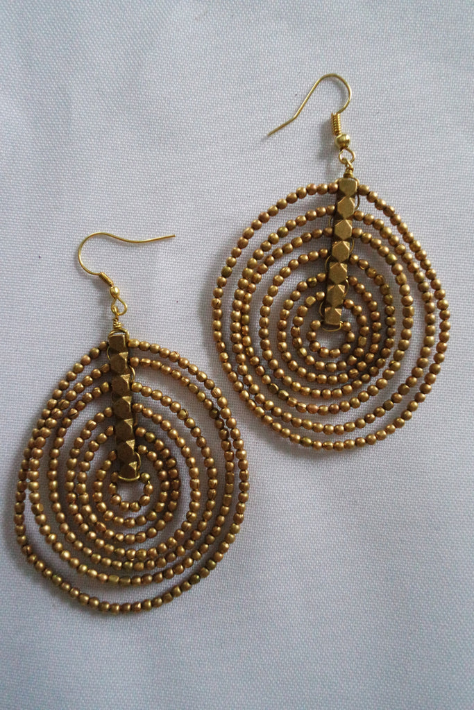 Naga Tribe Earrings, Beaded, Silver and Brass