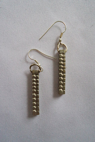 "Naga India Earrings "" Bar"" Brass or Silvercoated"