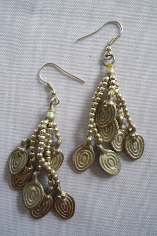 Naga India Earrings Dangling Multi Strand Brass or Silver Coated