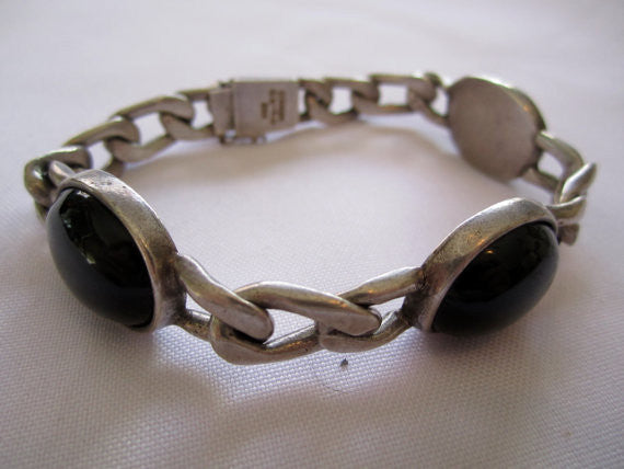 Estate Sterling Bracelet, Vintage Mexican Onyx