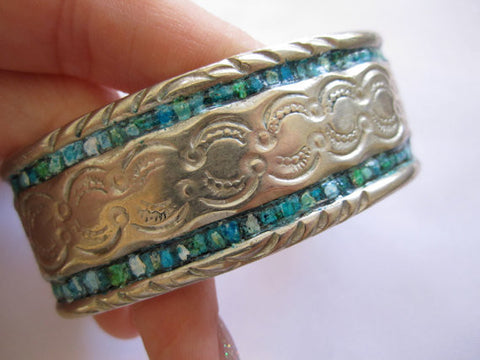Southwest Bracelet, Signed Navajo Sterling