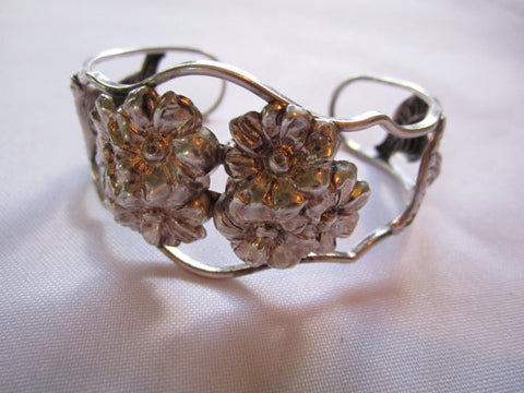 Estate Sterling Bracelet Cuff, Stamped Flower