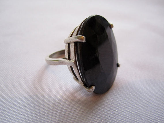 Sterling Ring, Vintage Natural Touramaline Ring