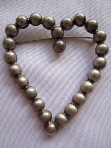 Estate Sterling Pin, Large Heart Brooch