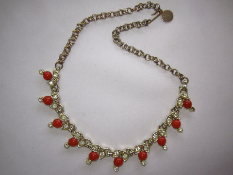 Vintage Necklace, Red Glass Cabachons Clear Rhinestone Necklace