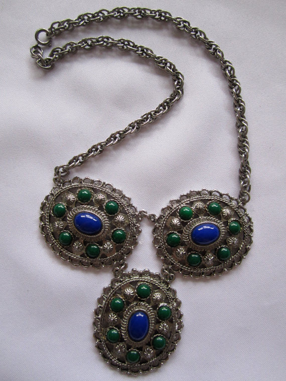 Vintage Necklace, Large Silver Blue Green Cabochon Necklace