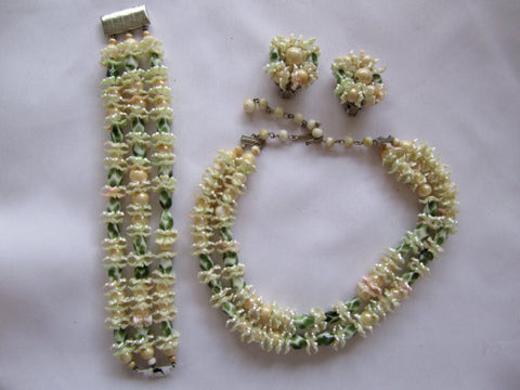 Vintage Set, Plastic Faux Pearl Iridescent Beaded Set