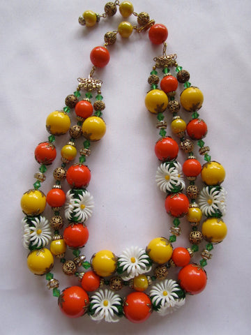 Vintage Necklace, Orange Yellow Flowers & Beads