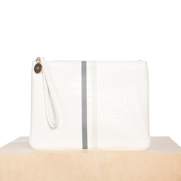 Editor's Pouch - White Croc with Stripes