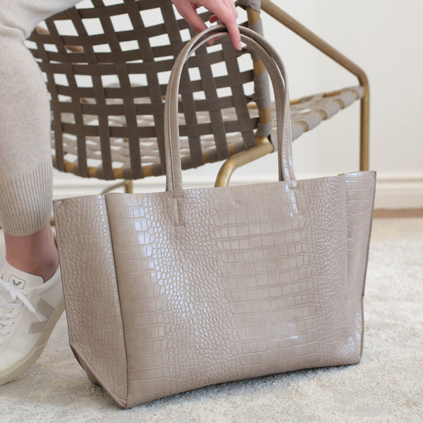 Large Tote - Taupe Croc