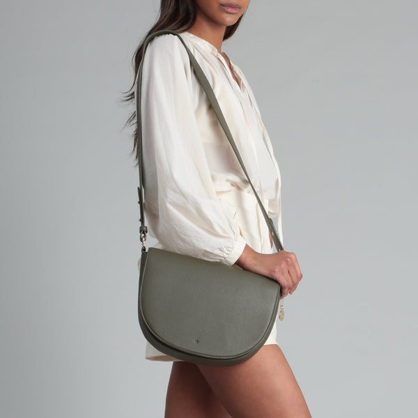 Saddle Bag - Khaki Pebble