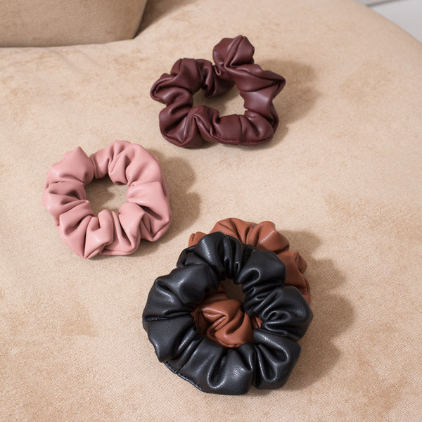 Vegan Leather Scrunchie - Black