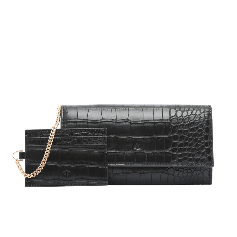Two in One Wallet - Black Croc