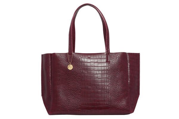 Large Tote – Burgundy Croc Effect