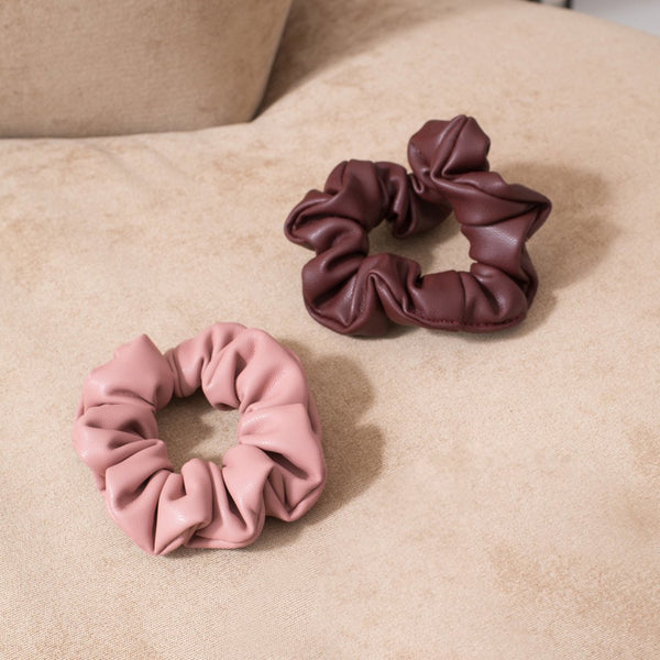 LOVE BUNDLE Vegan Leather Scrunchie - Rose & Burgundy