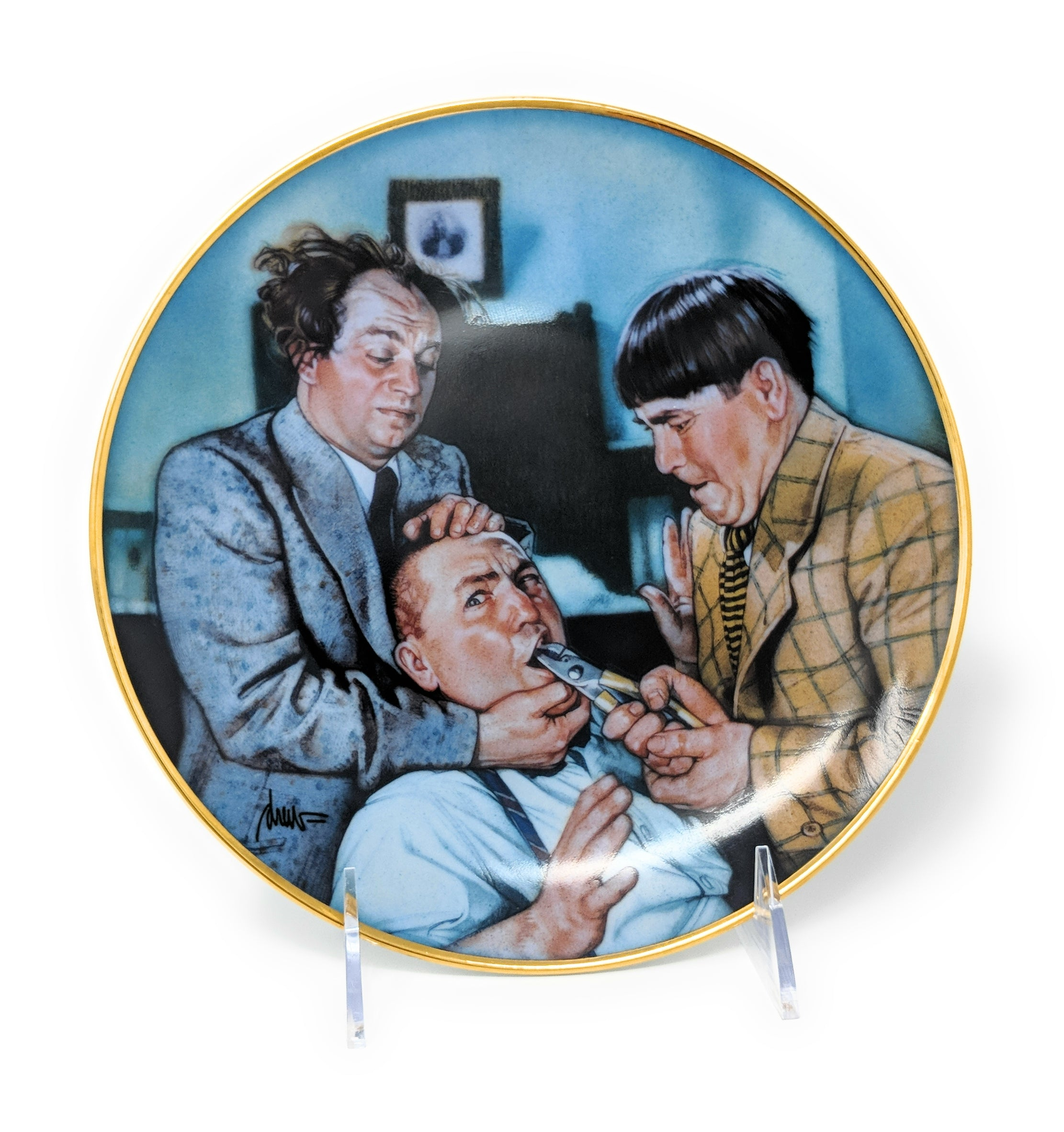 "1994 The Three Stooges ""Yanks for the Memories"" Collectible Plate by Norman Maurer Productions - LA1678"