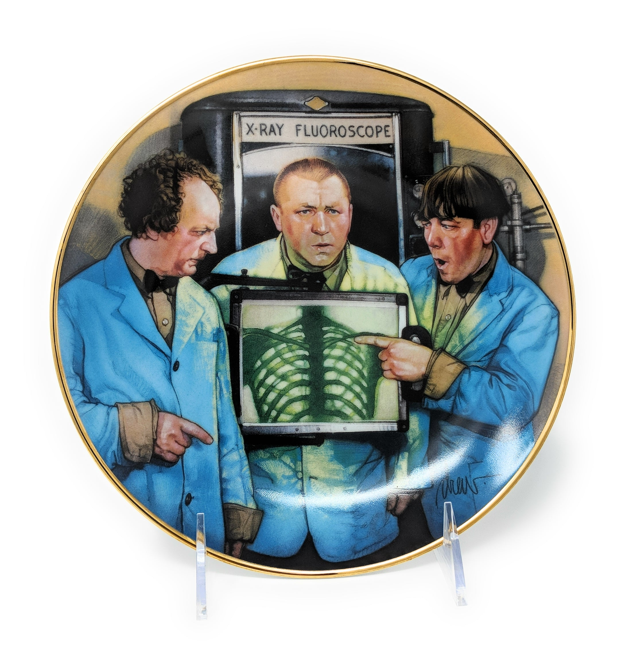 "The Three Stooges ""Funny Bones"" 1996 Collectible Plate by Norman Maurer Productions – HA5784"