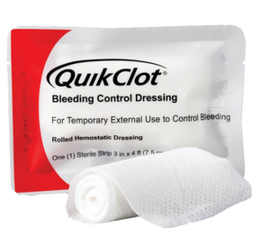 "Quick clot Hemostatic Rolled Gauze 3""x4ft"