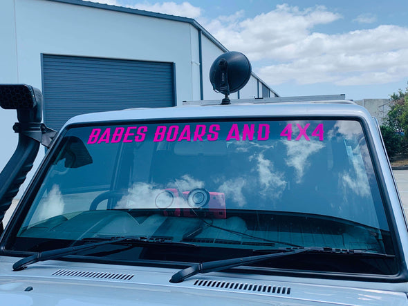 BABES BOARS & 4X4 WINDSCREEN STICKER