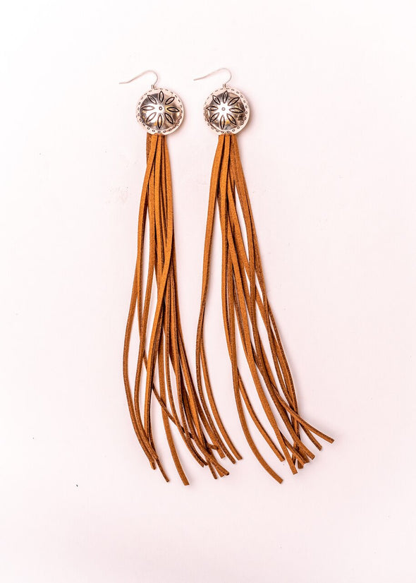 West & Co - Burnished Silver Flower Concho with Brown Leather Tassel Earring
