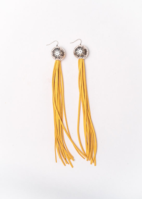 West & Co - Burnished Silver Flower Concho with Mustard Leather Tassel Earring