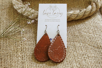 Love Lacey - Small Solid Embossed Teardrop Earrings- Horse