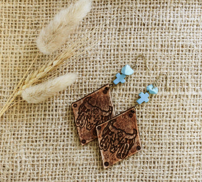 Love Lacey - Small Solid Embossed Diamond Earrings- Boho Cowskull with Turquoise Stones