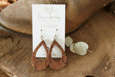 Love Lacey - Small Embossed Open Teardrop Earrings- Daisy (Sanded Brown)