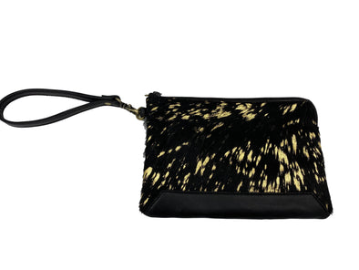 Black and Gold Foil Cowhide Clutch - Detroit