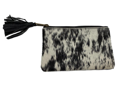 York – Distinct Dark Brown and White Small Tassel Cowhide Clutch