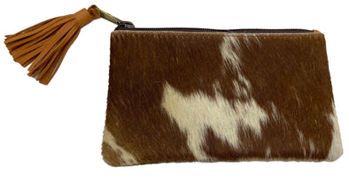 York – Distinct Tan and White Small Tassel Cowhide Clutch