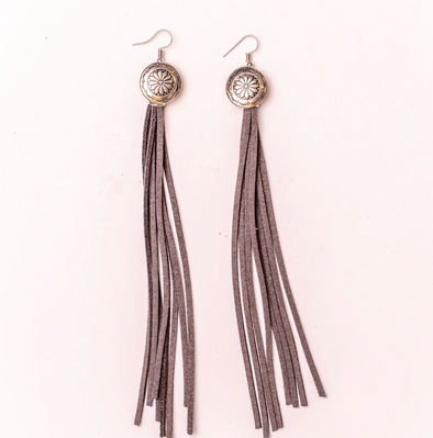 West & Co - Burnished Silver Concho with Grey Leather Tassell Earring